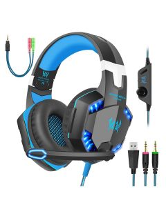 LED Stereo Noise Reduction Light Weight Gaming Headset With Mic Volume Control Multi Function Headphone - Black / Blue