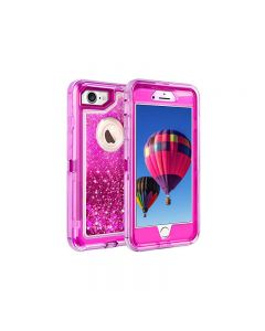 Anti Drop Shockproof 3D Bling Glitter Liquid Clear Dual Layer Quicksand Back Shell Case For iPhone 7/8 - Hot Pink