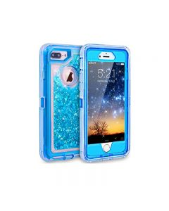 Anti Drop Shockproof 3D Bling Glitter Liquid Clear Dual Layer Quicksand Back Shell Case For iPhone 7/8 Plus - Blue