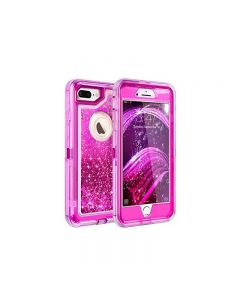 Anti Drop Shockproof 3D Bling Glitter Sparkle Liquid Clear Dual Layer Quicksand Back Shell Case For iPhone 7/8 Plus - Hot Pink
