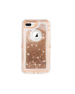 Anti Drop Shockproof 3D Bling Glitter Sparkle Liquid Clear Dual Layer Quicksand Back Shell Case For iPhone 7/8 Plus - Rose Gold