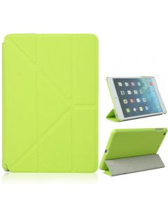 Origami Style Cross Texture Premium PU Leather Case Smart Cover for iPad Air - Green