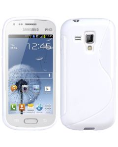 Gel TPU Rubber Silicone Skin Case Cover for Samsung Galaxy S Duos S7562 - White