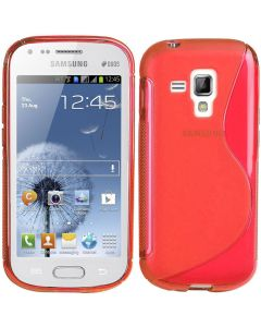 Gel TPU Rubber Silicone Skin Case Cover for Samsung Galaxy S Duos S7562 - Red