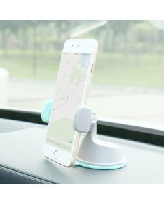 Mobile Phone Holder Universal Air Vent With Dashboard Windshield 2 in 1 Car Holders Stand - White