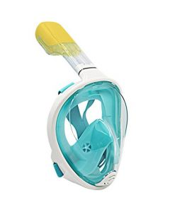 180 Full Face Snorkel Mask with Panoramic View Anti-Fog Adjustable Head Straps L/XL Size - Aqua