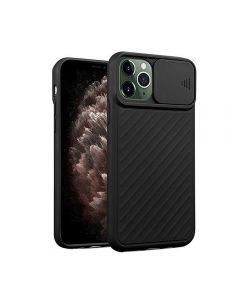 Sliding Camera Lens Protection Soft TPU Silicone Back Cover Shockproof Phone Case For iPhone 11 Pro - Black