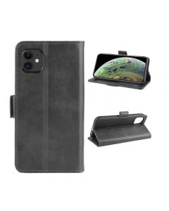 PU Leather Wallet Stand Phone Case Cover Shell For Apple iPhone 11 6.1'' - Black