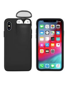 Unified Protection Silicone Gel Rubber 2 in 1 AirPods Phone Cover Case For Apple iPhone X / XS (AirPods 1/2 Only)- Black