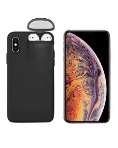 Unified Protection Silicone Gel Rubber 2 in 1 AirPods Phone Cover Case For Apple iPhone XS Max (AirPods 1/2 Only)- Black