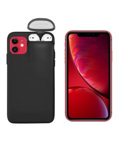 Unified Protection Silicone Gel Rubber 2 in 1 AirPods Phone Cover Case For Apple iPhone 11 (AirPods 1/2 Only) - Black