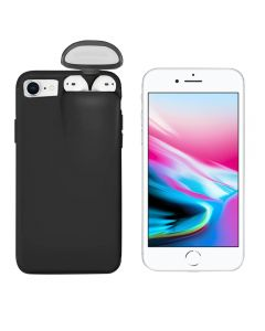 Unified Protection Silicone Gel Rubber 2 in 1 AirPods Protective Phone Cover Case For Apple iPhone 7 / iPhone 8 - Black