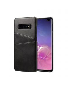 Premium PU Leather Card Slot Protective Back Cover Case Compatible With Samsung Galaxy S10 - Black