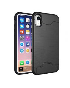Brushed TPU 2 Layer Protection Hidden Card Storage Kickstand Back Cover Phone Case For Apple iPhone XR - Black