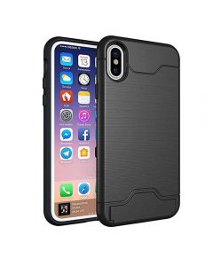 Brushed TPU 2 Layer Protection Hidden Card Storage Kickstand Back Cover Phone Case For iPhone X / iPhone XS - Black