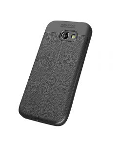 Auto Focus Embossed Back Cover Solid Colored Soft TPU Case Cover For Samsung Galaxy A5 (2017) A520 - Black