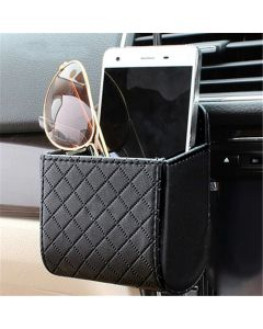 PU Leather Car Phone Holder Organizer Storage Box Bag Car Air Vent Organizer Phone Holder - Black