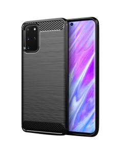 Heavy Duty Soft Silicone TPU Bumper Carbon Fiber Protection Back Case Cover For Samsung Galaxy S20+ Plus 5G - Black