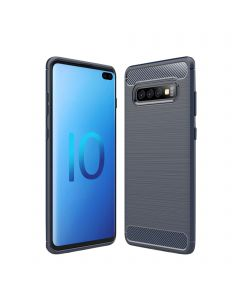 Soft Silicone Bumper Shockproof Carbon Fiber Protective Case Compatible With Samsung Galaxy S10 - Blue