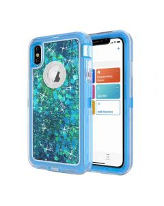 Dynamic Glitter Liquid Armor Case Defender Quicksand Hybrid Cover Phone Case For Apple iPhone XS Max - Blue
