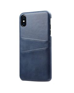 PU Leather Wallet Phone Case With Card Holder Smart Stylish Back Cover Case For Apple iPhone XS Max - Blue