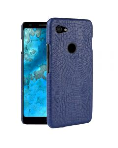 Crocodile Skin Pattern PU leather Protective Back TPU Phone Case Cover For Google Pixel 3a XL - Blue