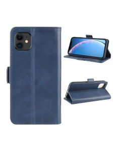 PU Leather Wallet Stand Phone Case Cover Shell For Apple iPhone 11 6.1'' - Dark Blue