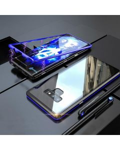 Samsung Galaxy Note 9 Magnetic Absorption Metal Frame Transparent Glass Case - Blue Black