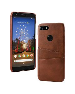 PU Leather Wallet Flip Stand Shockproof Full Body Smart Phone Case Cover With Card Holder For Google Pixel 3a - Brown