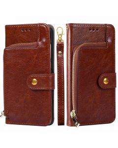 Luxury Magnetic PU Leather Case Zipper Lanyard Wallet Cover Phone Case For Google Pixel 3a - Brown