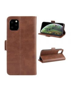 PU Leather Wallet Stand Phone Case Cover Shell For Apple iPhone 11 Pro Max 6.5'' - Brown