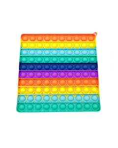 20cm Multi Color Rainbow Square Push Bubble Pop Fidget Toy Silicone Game Toy Stress Reliever For Kids / Adults