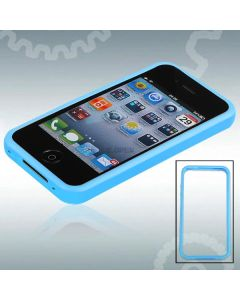 Rubber Frame Case Soft Skin Slim Bumper Cover for iPhone 4 / 4S - Baby Blue