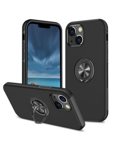 Shockproof 360 Magnetic Protective Case With Ring Holder For Apple iPhone 13 - Black