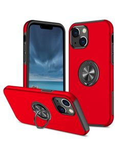 Shockproof 360 Magnetic Protective Case With Ring Holder For Apple iPhone 13 - Red