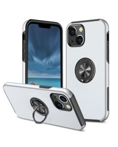 Shockproof 360 Magnetic Protective Case With Ring Holder For Apple iPhone 13 - White