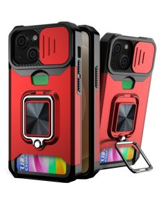 Sliding Camera Cover Shockproof Case With Ring Holder & Card Slot For Apple iPhone 13 - Red