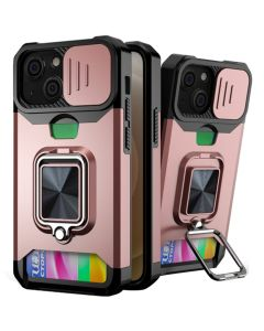 Sliding Camera Cover Shockproof Case With Ring Holder & Card Slot For Apple iPhone 13 - Rose Gold