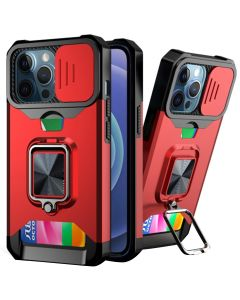 Sliding Camera Cover Shockproof Case With Ring Holder & Card Slot For Apple iPhone 13 Pro - Red