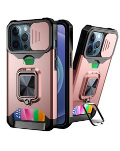 Sliding Camera Cover Shockproof Case With Ring Holder & Card Slot For Apple iPhone 13 Pro - Rose Gold