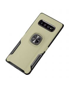 Ring Grip Bracket Magnetic Adsorption Back Cover Protective Case Compatible With Samsung Galaxy S10 - Gold