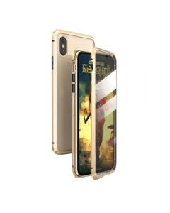 360º Magnetic Metal Frame Tempered Glass Back Magnet Phone Cover Case For Apple iPhone X / iPhone XS - Gold