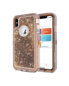 Dynamic Glitter Liquid Armor Case Defender Quicksand Hybrid Cover Phone Case For Apple iPhone XS Max - Gold