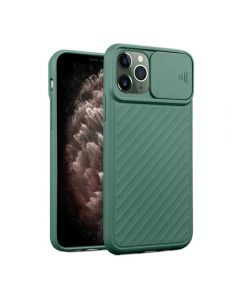 Sliding Camera Lens Protection Soft TPU Silicone Back Cover Shockproof Phone Case For iPhone 11 Pro - Green