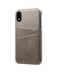 PU Leather Wallet Phone Case With Card Holder Smart Stylish Back Cover Case For Apple iPhone XR - Grey