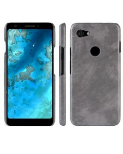 Stylish TPU Hard Back Cover Litchi PU Leather Phone Case Cover For Google Pixel 3a - Grey