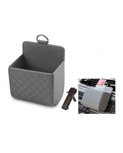 PU Leather Car Phone Holder Organizer Storage Box Bag Car Air Vent Organizer Phone Holder - Grey