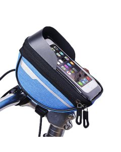 Waterproof Polyester Cycling Bicycle Bag Head Tube Handlebar Mobile Phone Case Holder For Upto 6.4 inch Phones - Blue