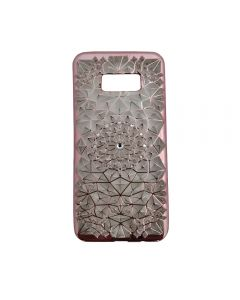 Samsung S8 Luxury 3D Rhinestone Bling Case Soft Silicone Thin Cover Diamond Flower Phone Case - Pink