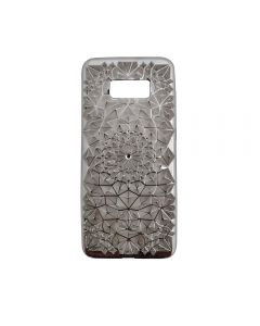Samsung S8+ Plus Luxury 3D Rhinestone Bling Case Soft Silicone Thin Cover Diamond Flower Phone Case - Silver